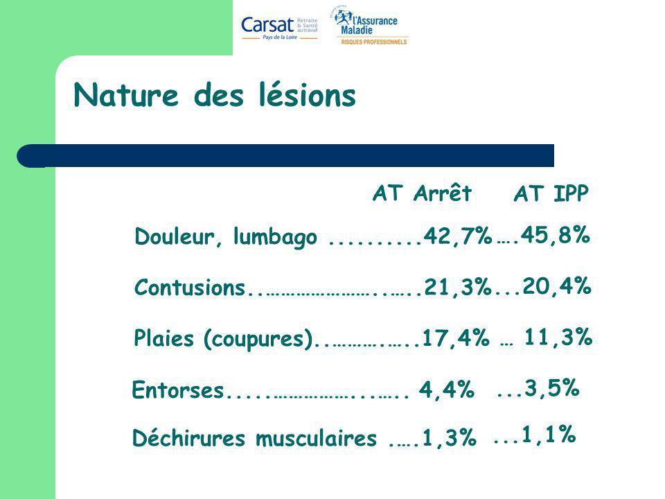Nature des lésions AT Arrêt AT IPP Douleur, lumbago ..........42,7%