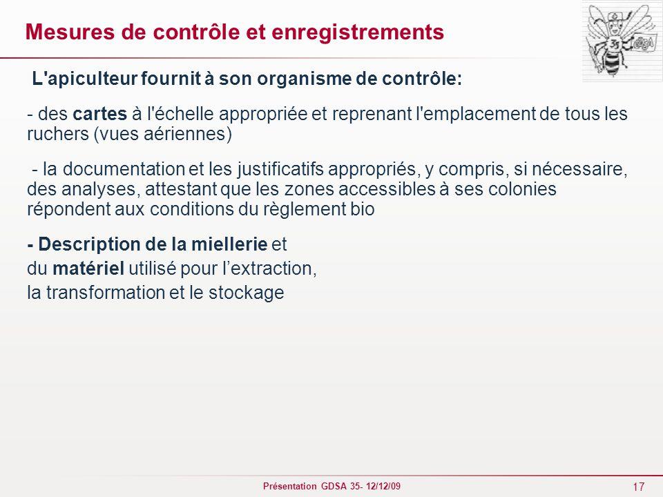 Mesures de contrôle et enregistrements
