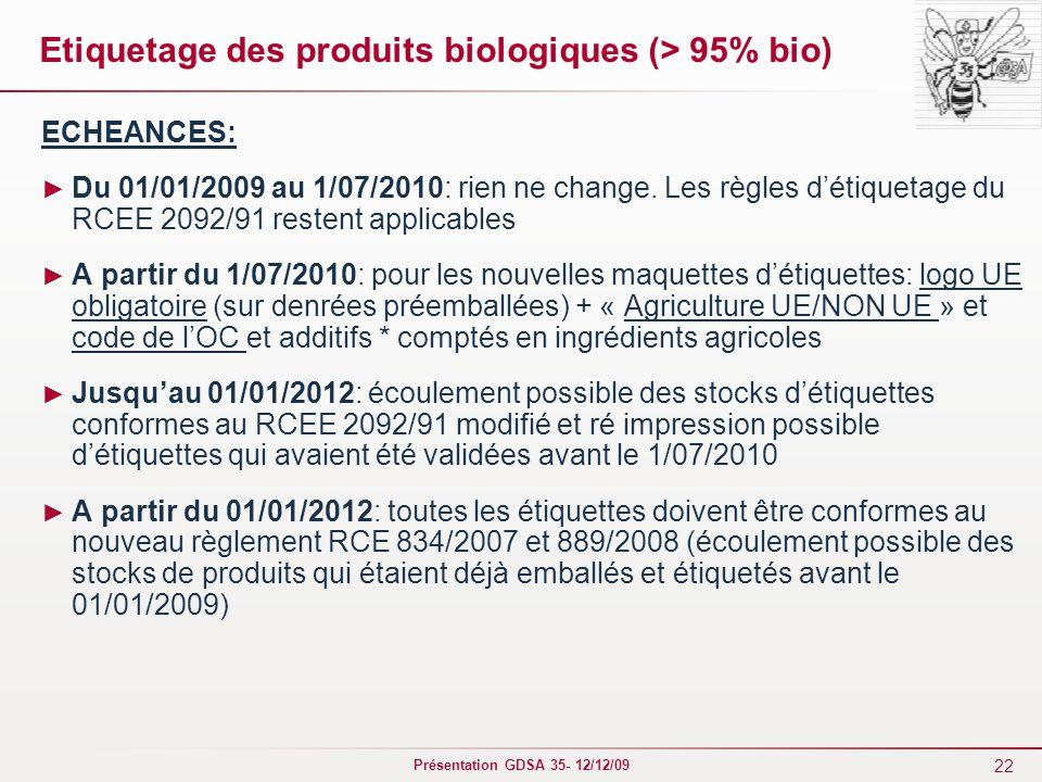 Etiquetage des produits biologiques (> 95% bio)
