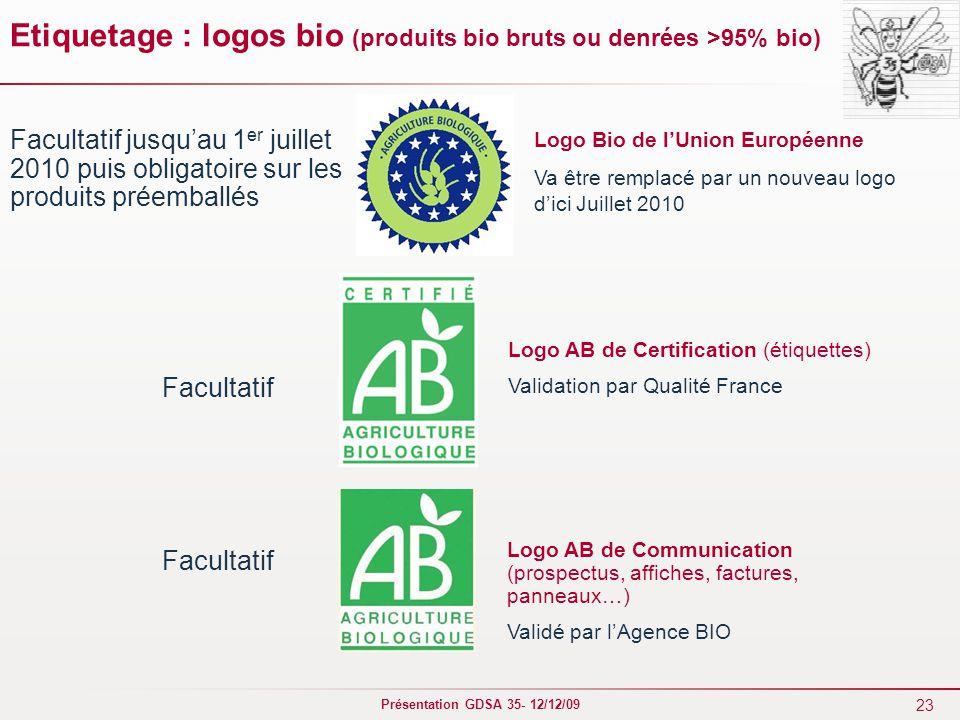 Etiquetage : logos bio (produits bio bruts ou denrées >95% bio)