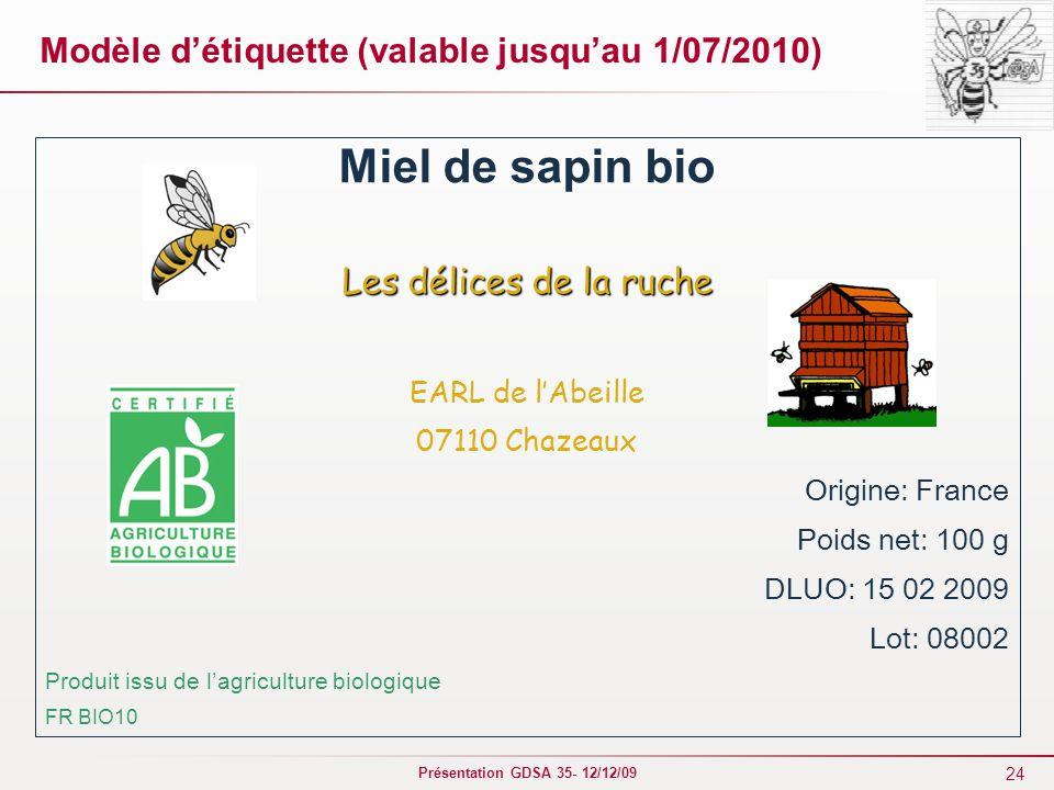 Modèle d'étiquette (valable jusqu'au 1/07/2010)