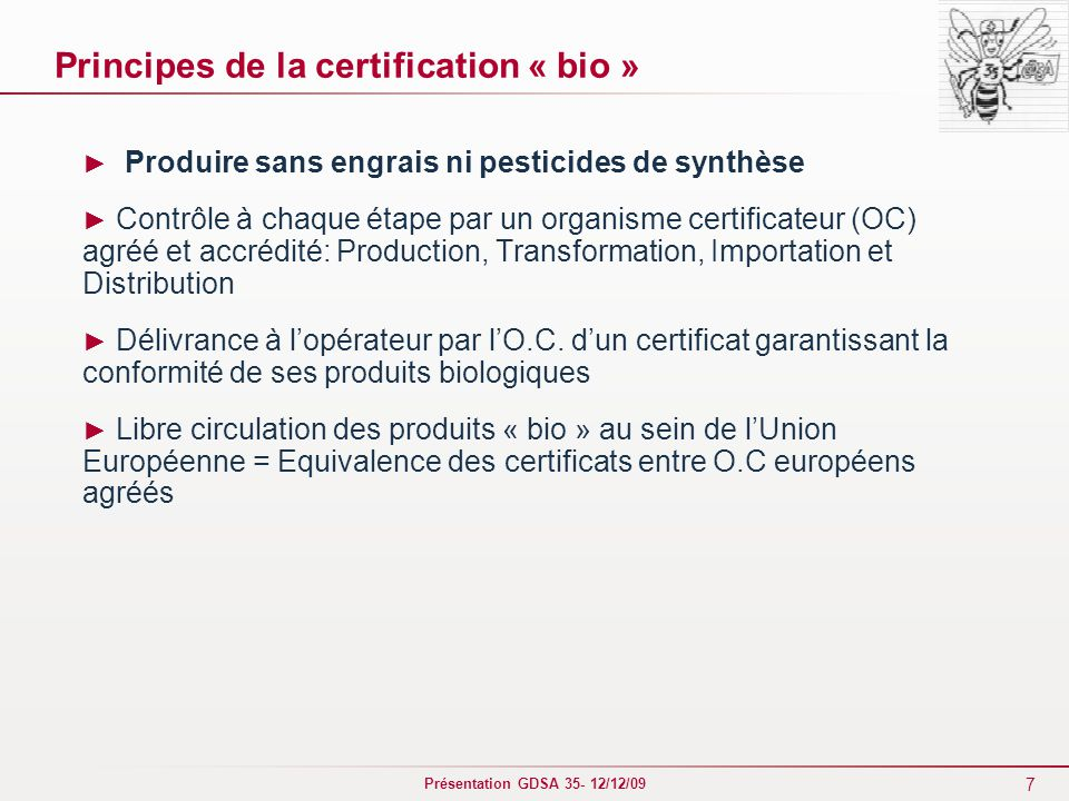 Principes de la certification « bio »