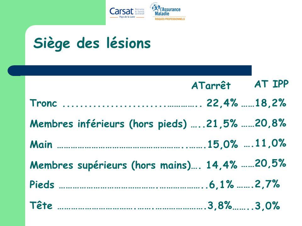 Siège des lésions ATarrêt AT IPP ……18,2% ……20,8% ….11,0% ……20,5%