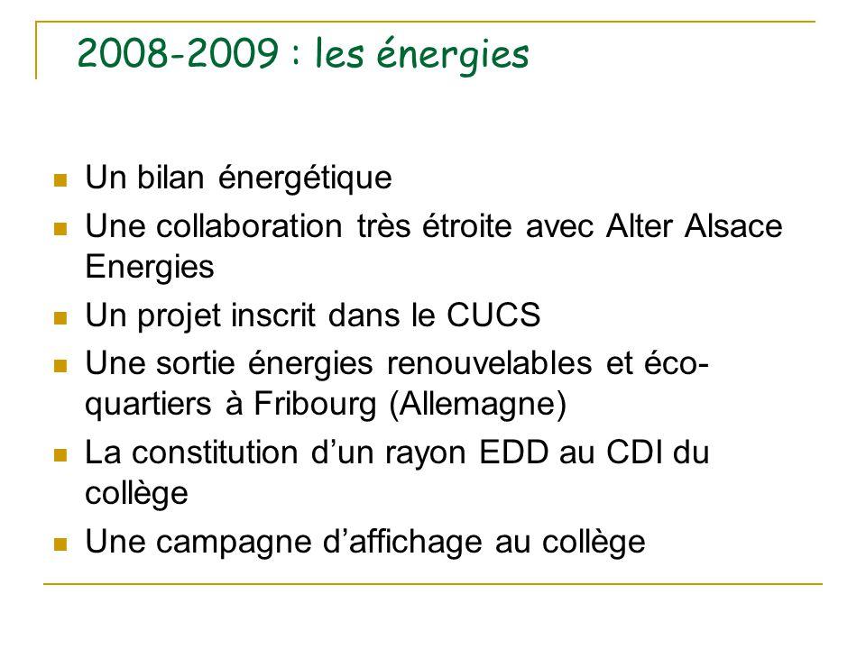 2008-2009 : les énergies Un bilan énergétique