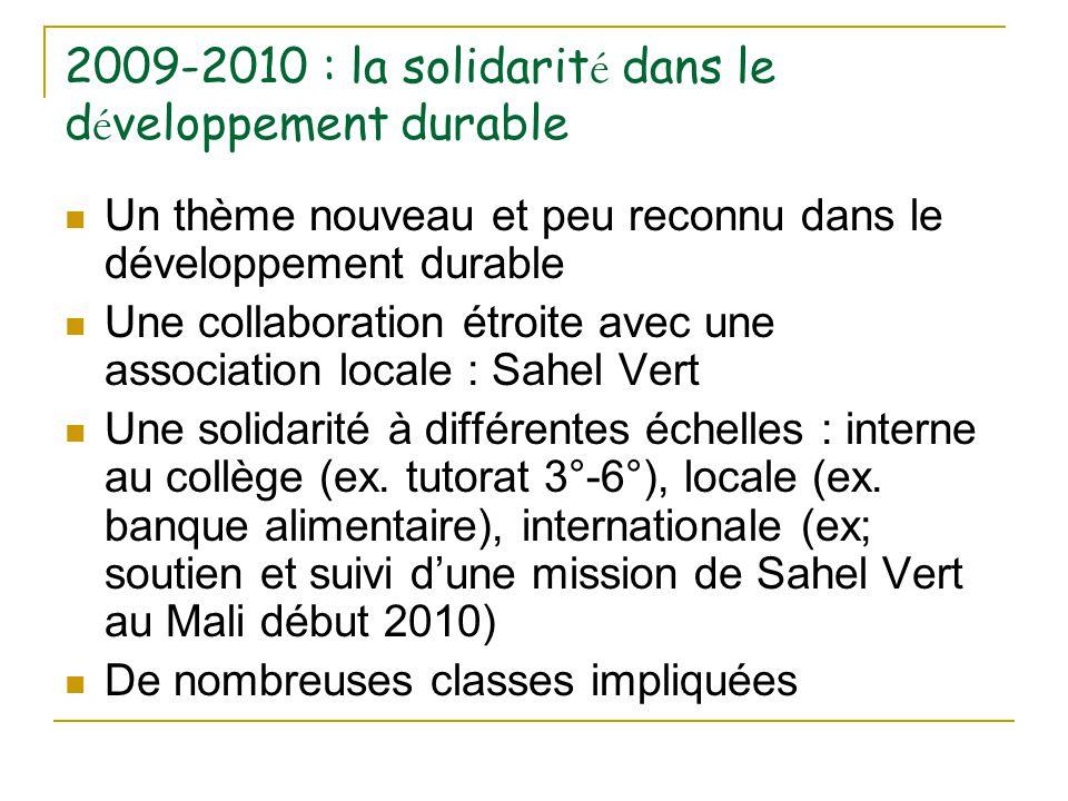 2009-2010 : la solidarité dans le développement durable