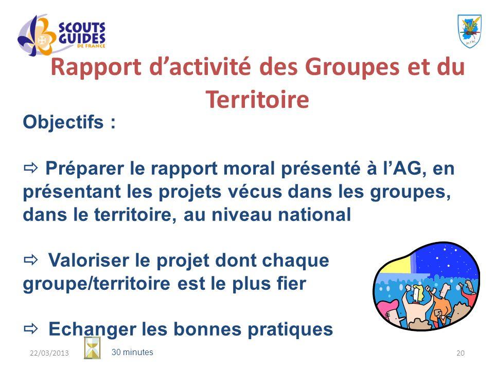 Rapport d'activité des Groupes et du Territoire
