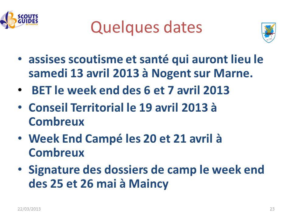 Quelques dates assises scoutisme et santé qui auront lieu le samedi 13 avril 2013 à Nogent sur Marne.