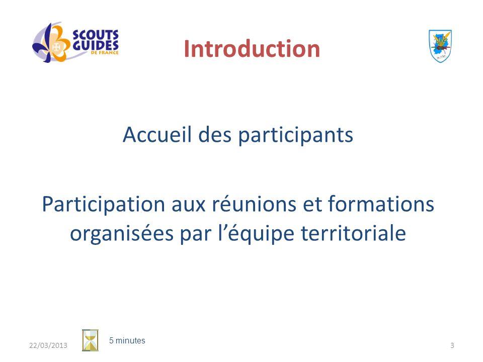 Introduction Accueil des participants Participation aux réunions et formations organisées par l'équipe territoriale