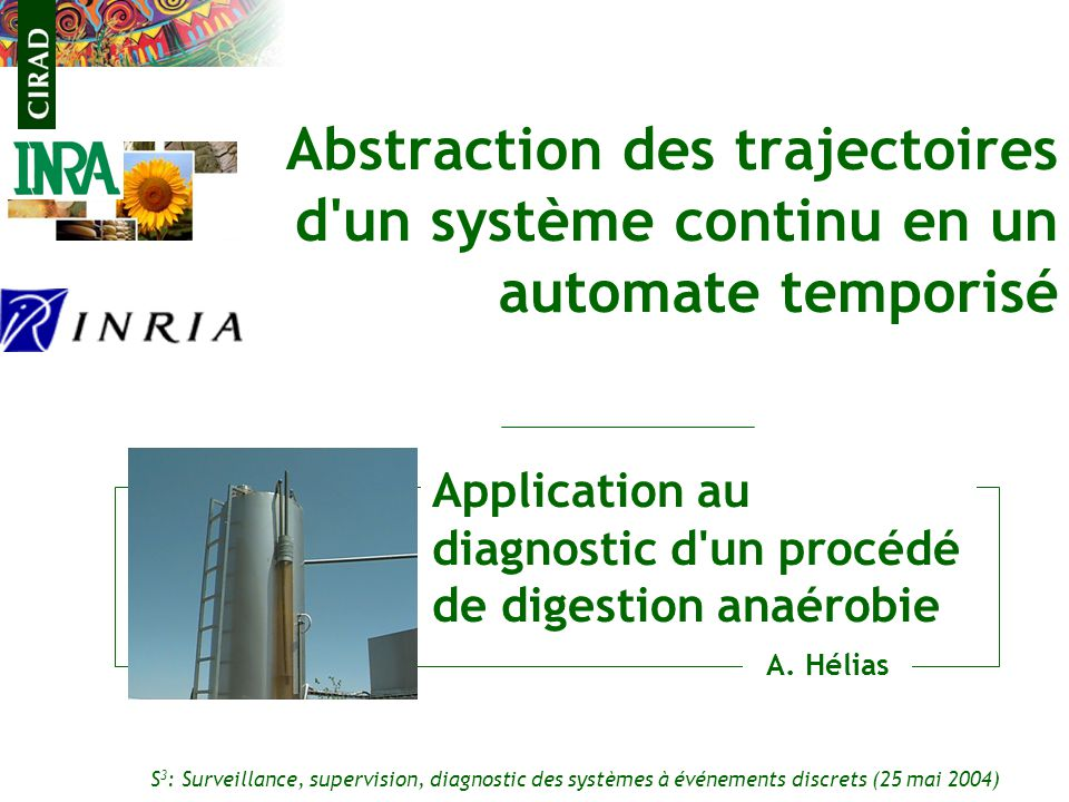 Application au diagnostic d un procédé de digestion anaérobie