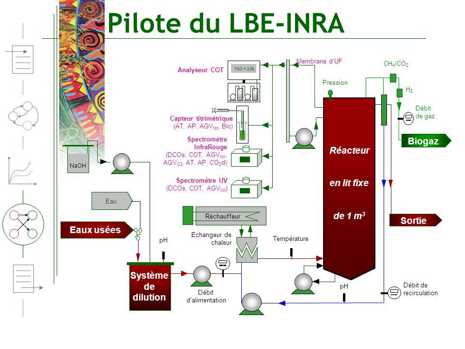 Pilote du LBE-INRA Biogaz Réacteur en lit fixe de 1 m3 Sortie