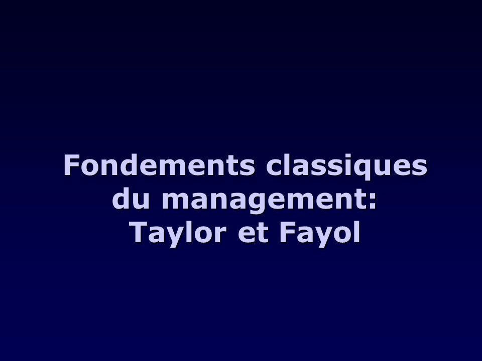 Fondements classiques du management: Taylor et Fayol