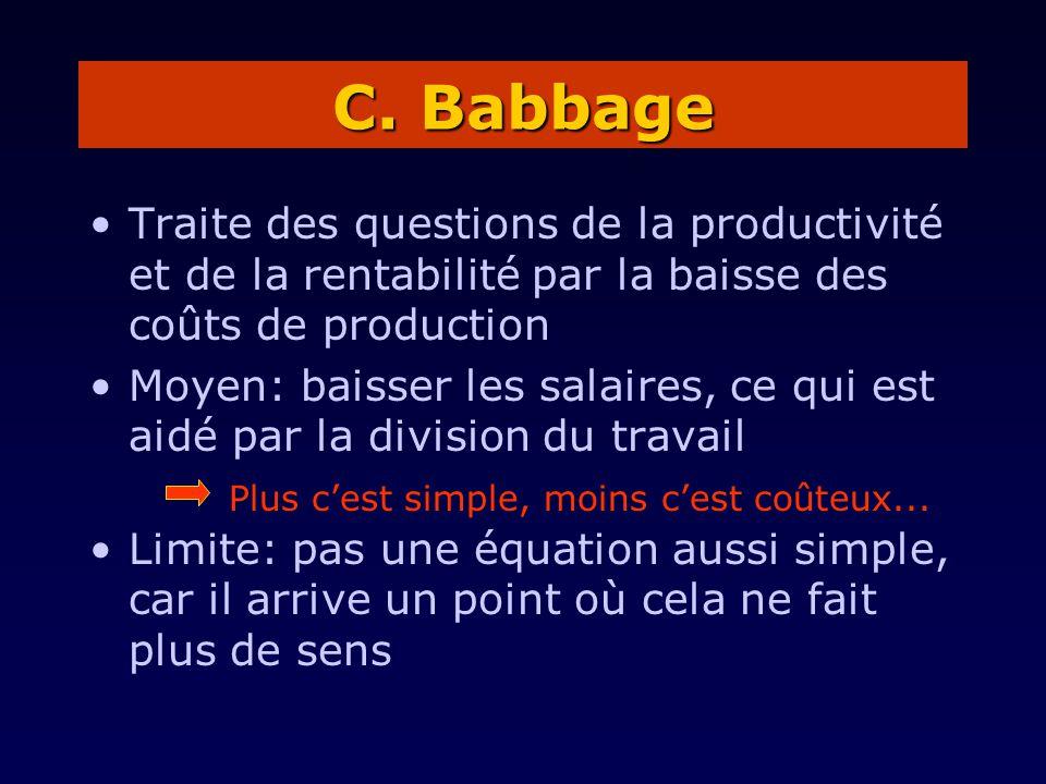 C. Babbage Traite des questions de la productivité et de la rentabilité par la baisse des coûts de production.
