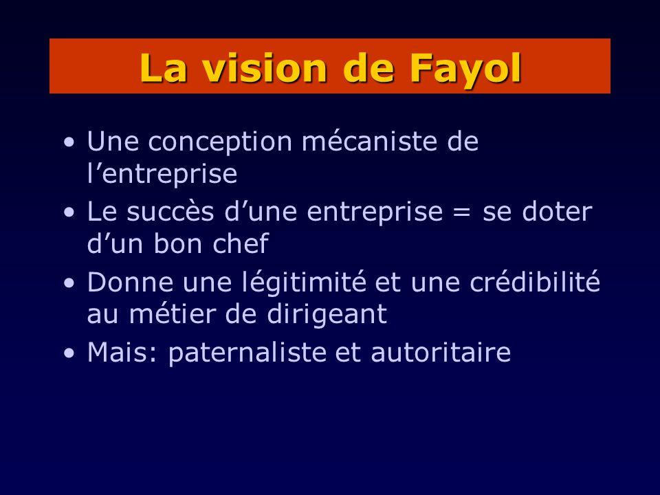 La vision de Fayol Une conception mécaniste de l'entreprise