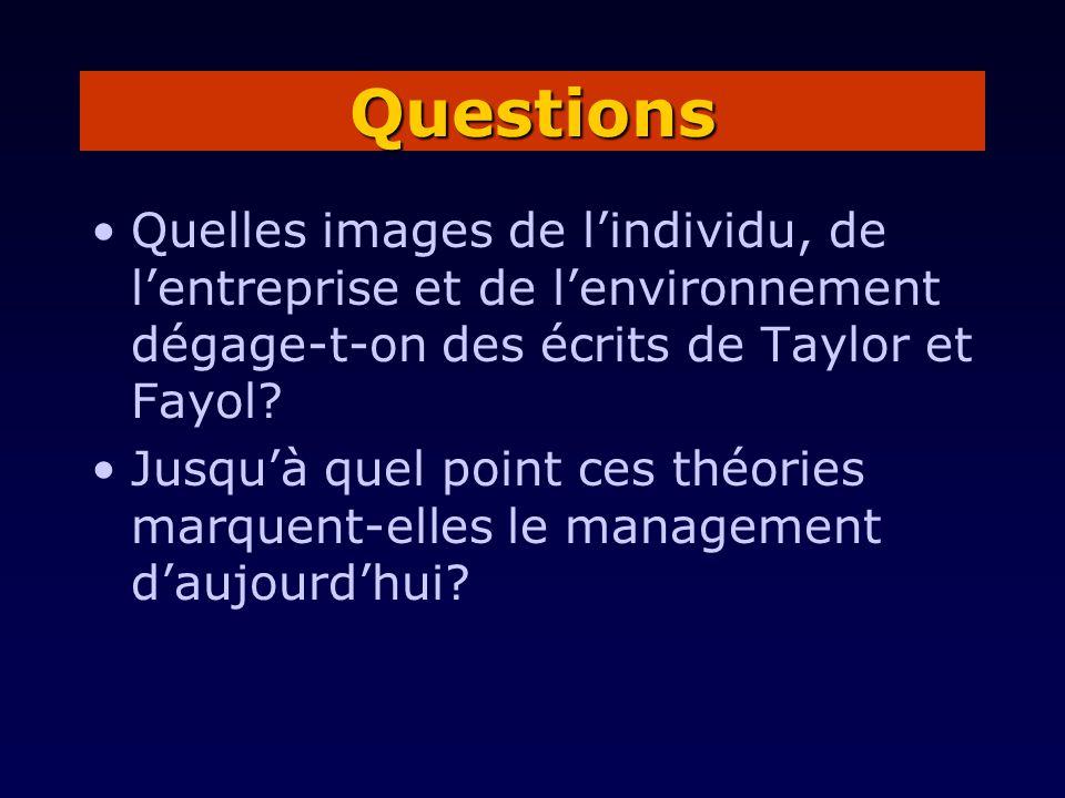 Questions Quelles images de l'individu, de l'entreprise et de l'environnement dégage-t-on des écrits de Taylor et Fayol