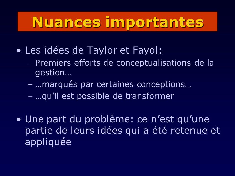 Nuances importantes Les idées de Taylor et Fayol: