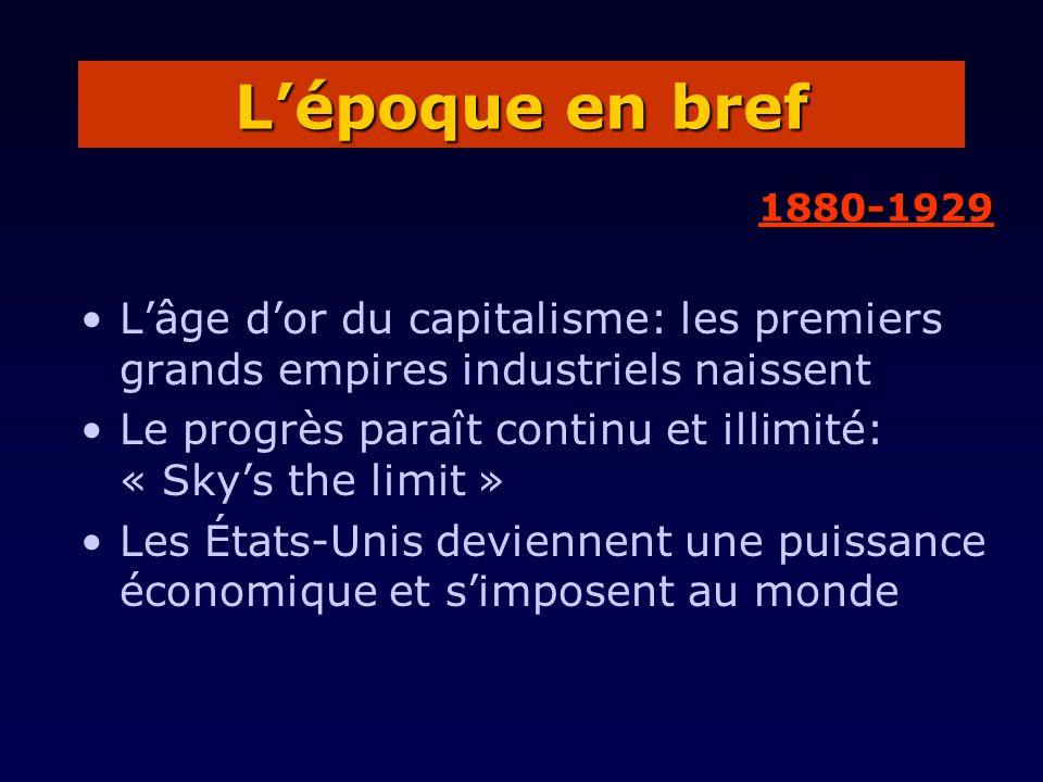 L'époque en bref 1880-1929. L'âge d'or du capitalisme: les premiers grands empires industriels naissent.