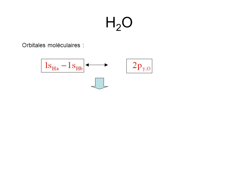 H2O Orbitales moléculaires :