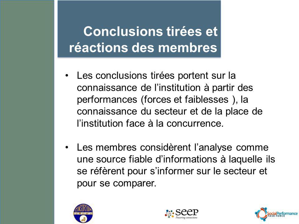 Conclusions tirées et réactions des membres