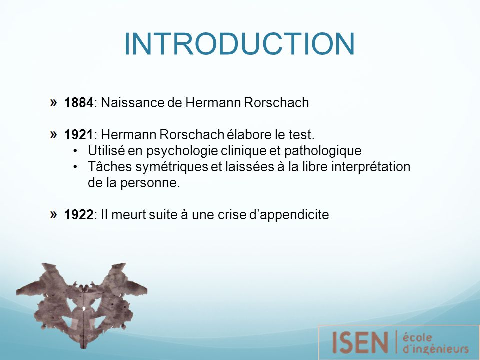 INTRODUCTION 1884: Naissance de Hermann Rorschach