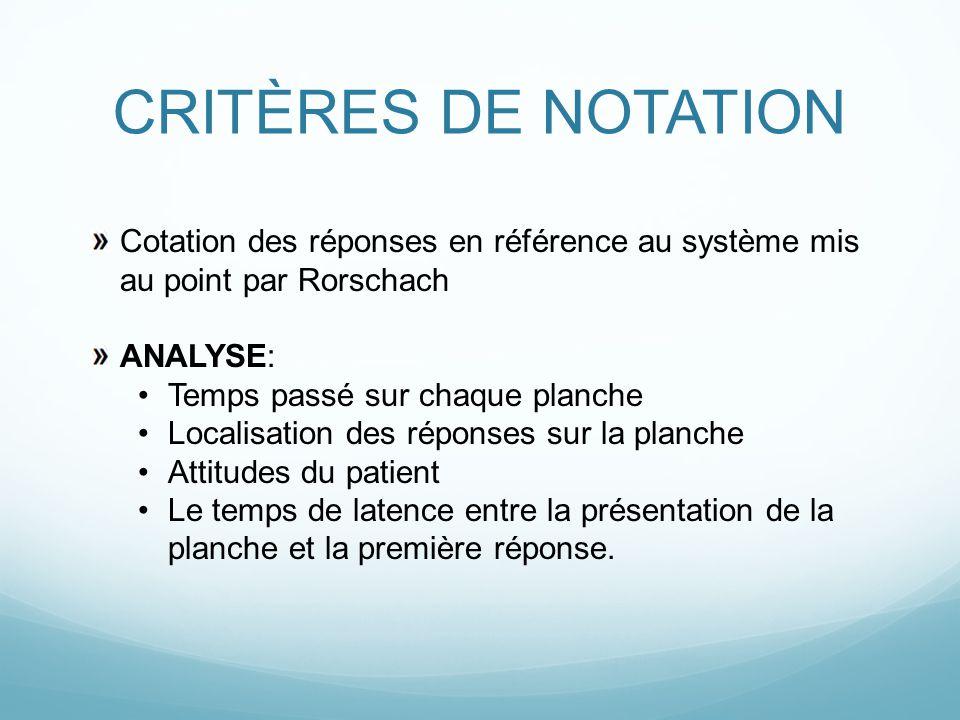 CRITÈRES DE NOTATION Cotation des réponses en référence au système mis au point par Rorschach. ANALYSE: