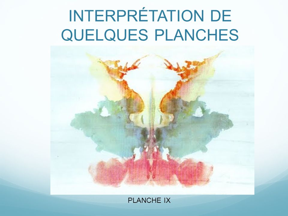INTERPRÉTATION DE QUELQUES PLANCHES