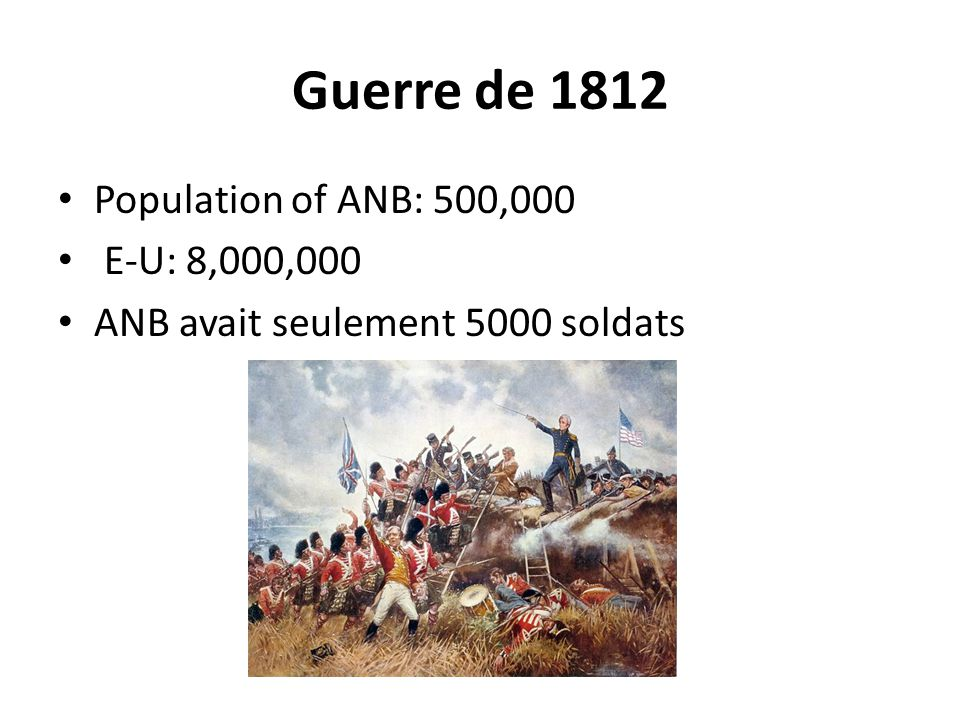 Guerre de 1812 Population of ANB: 500,000 E-U: 8,000,000