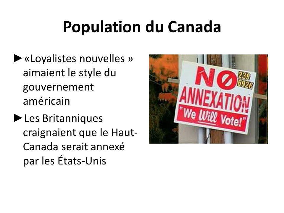 Population du Canada «Loyalistes nouvelles » aimaient le style du gouvernement américain.