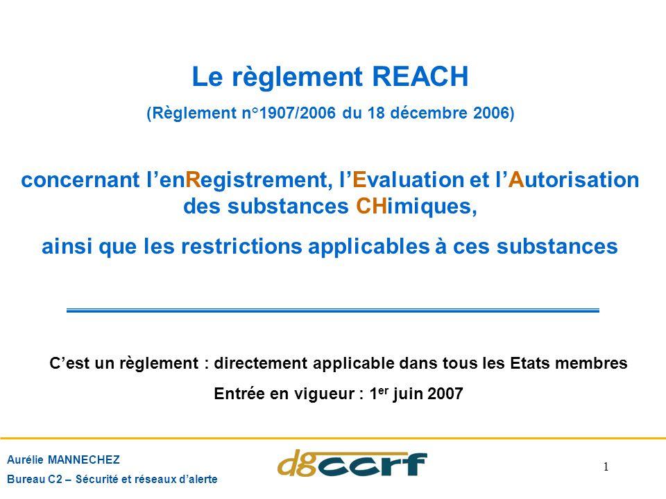 Le règlement REACH (Règlement n°1907/2006 du 18 décembre 2006) concernant l'enRegistrement, l'Evaluation et l'Autorisation des substances CHimiques,