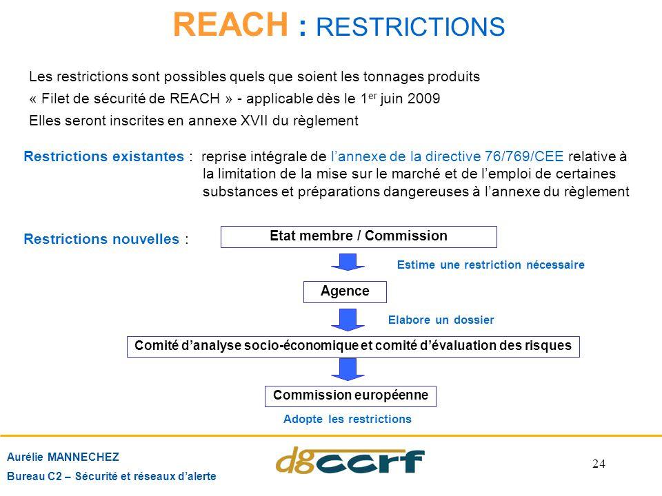 REACH : RESTRICTIONS Les restrictions sont possibles quels que soient les tonnages produits.