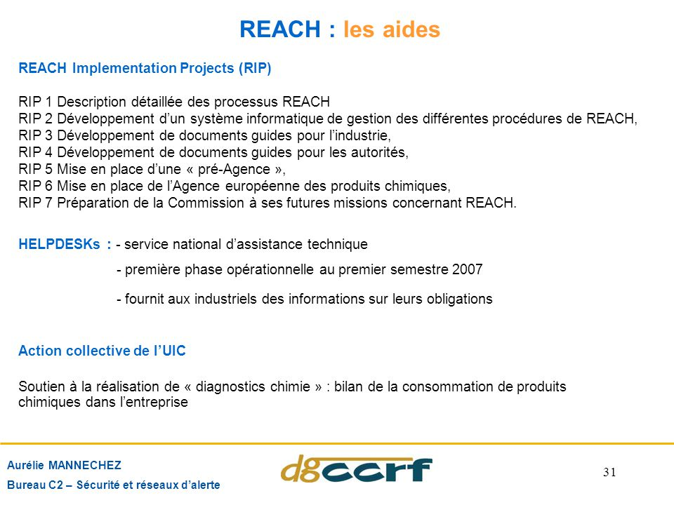 REACH : les aides REACH Implementation Projects (RIP)