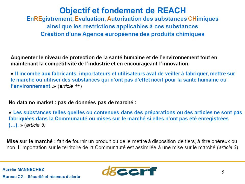 Objectif et fondement de REACH