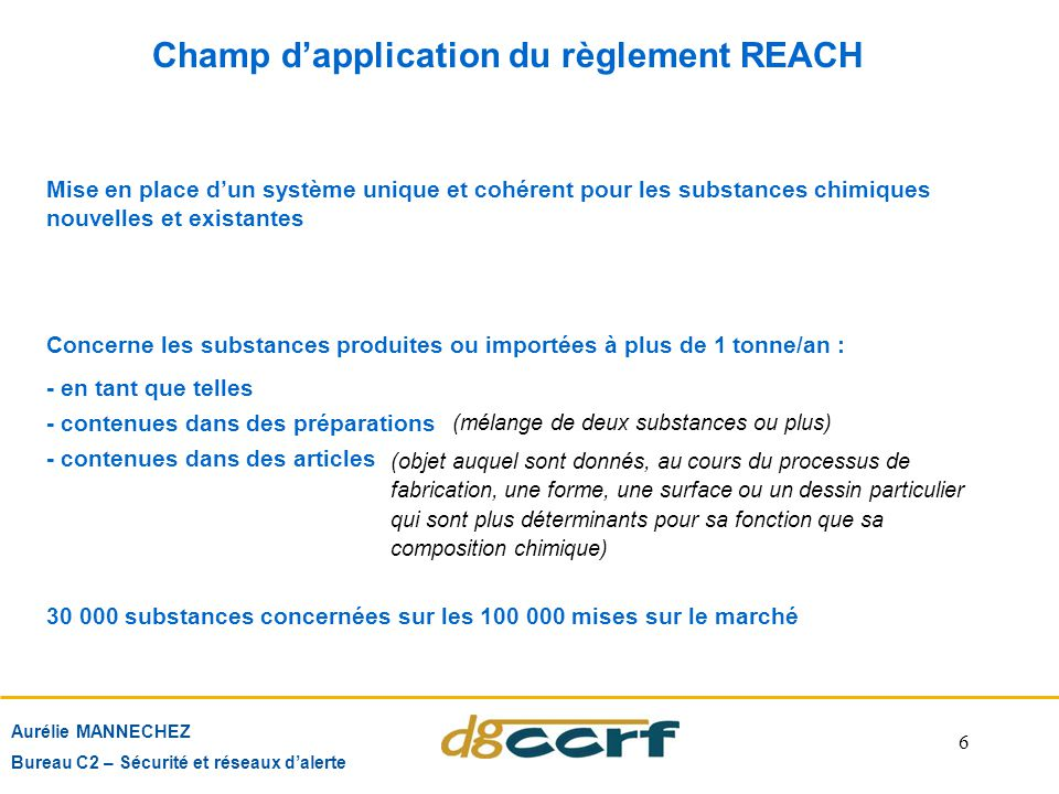 Champ d'application du règlement REACH