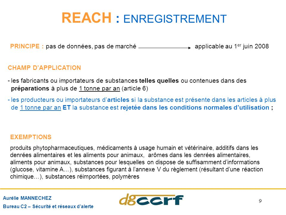 REACH : ENREGISTREMENT
