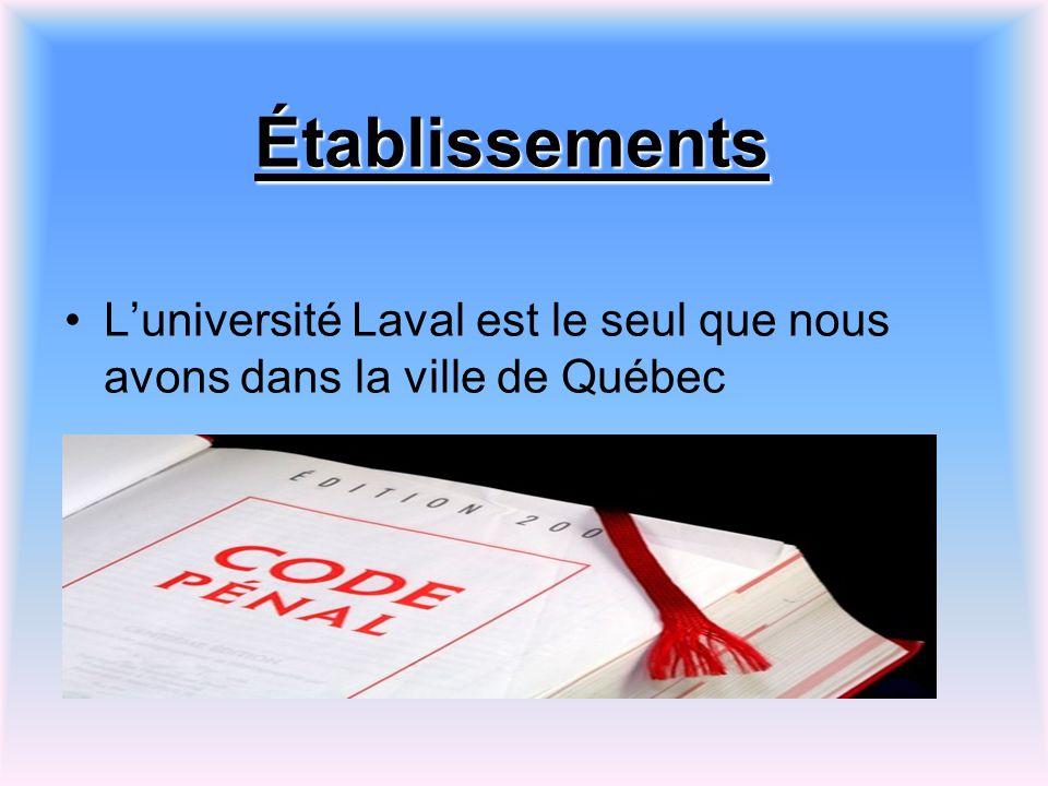 Établissements L'université Laval est le seul que nous avons dans la ville de Québec