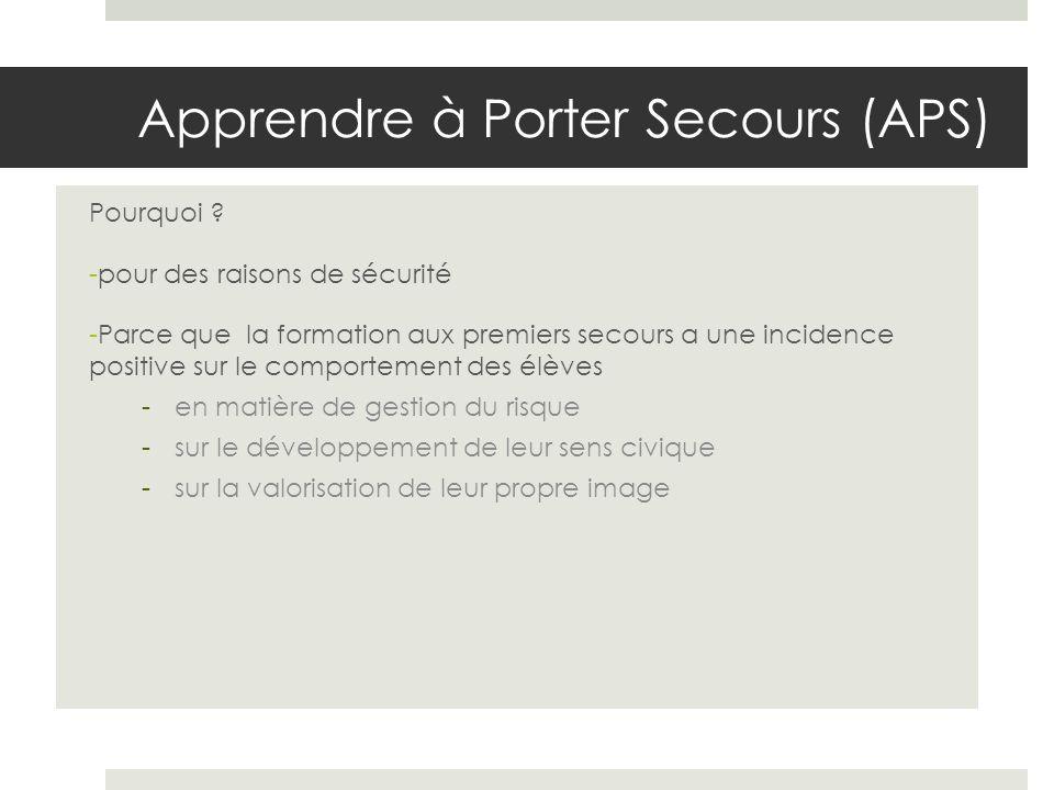 Apprendre à Porter Secours (APS)