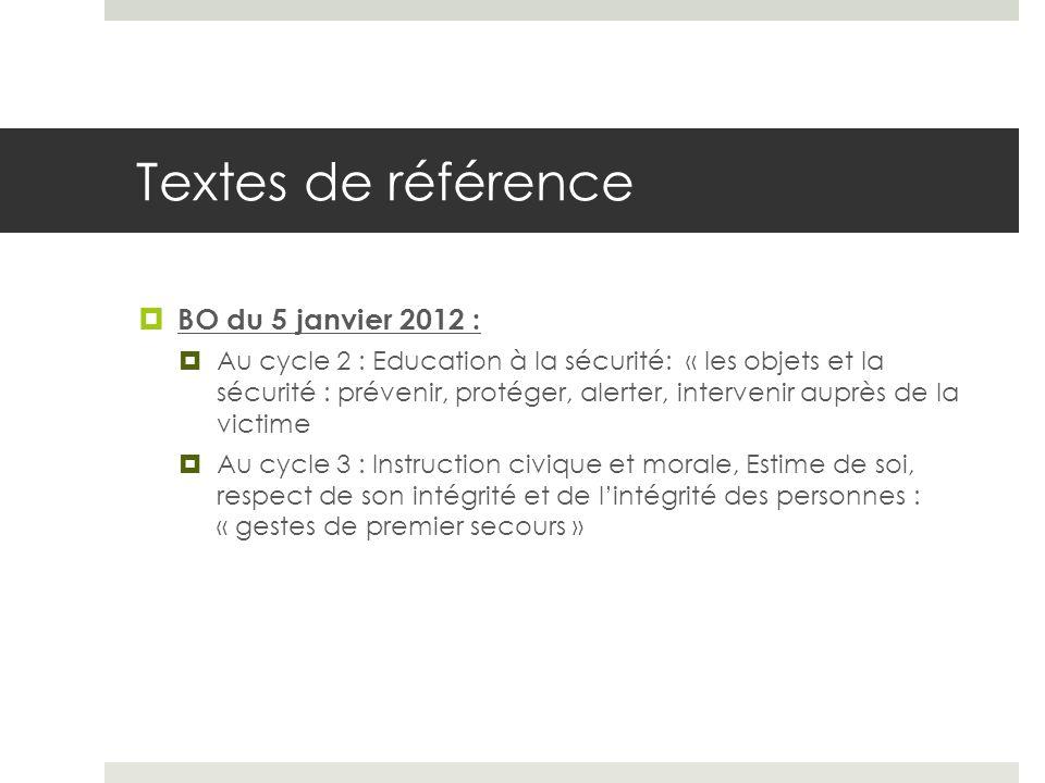 Textes de référence BO du 5 janvier 2012 :