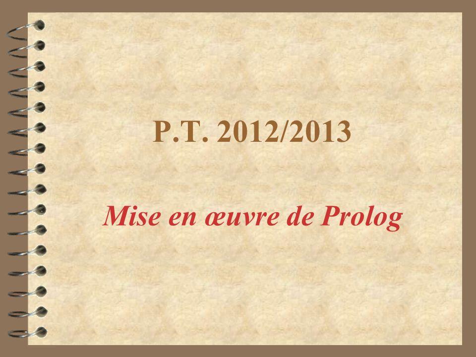 P.T. 2012/2013 Mise en œuvre de Prolog