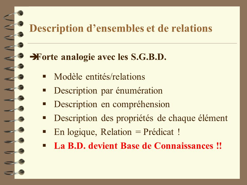 Description d'ensembles et de relations