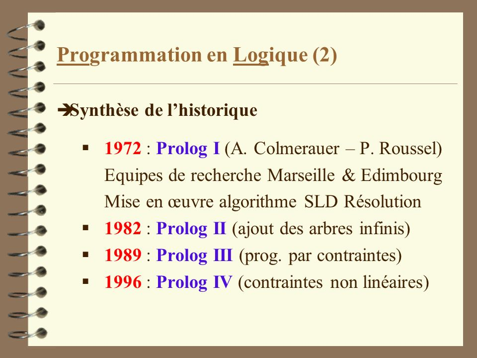 Programmation en Logique (2)