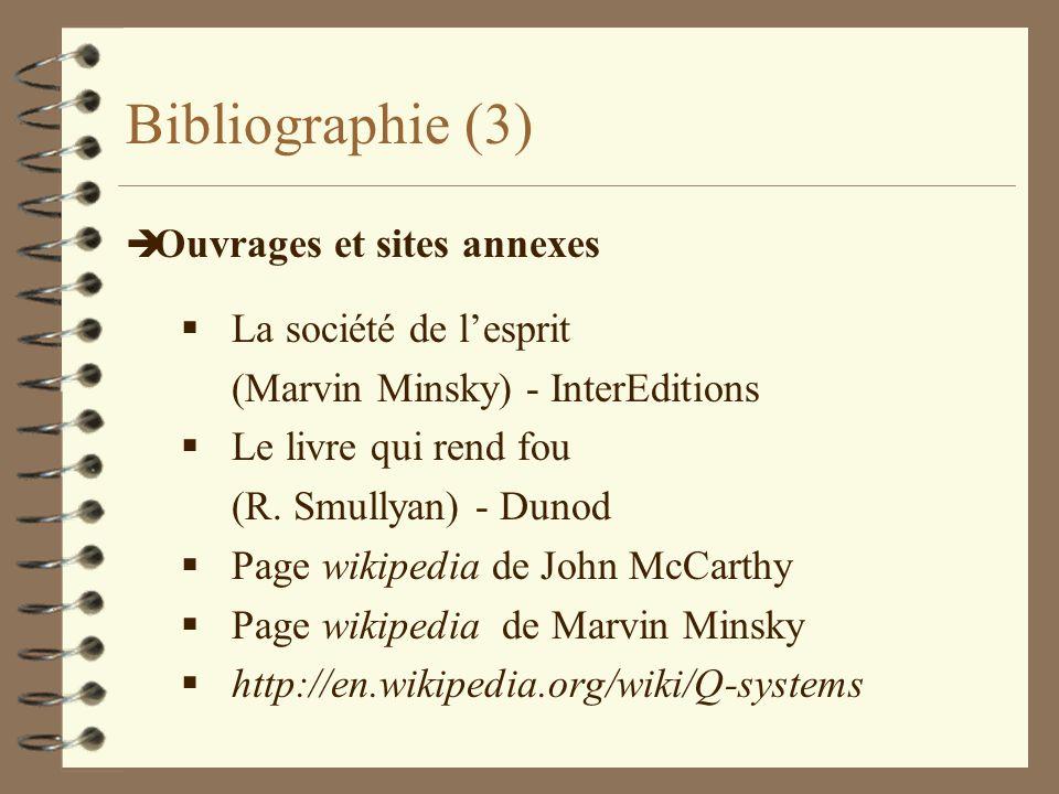 Bibliographie (3) Ouvrages et sites annexes La société de l'esprit