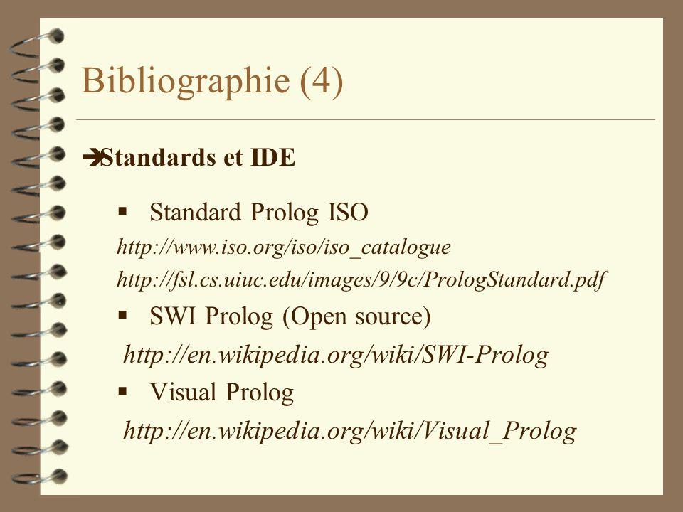 Bibliographie (4) Standards et IDE Standard Prolog ISO