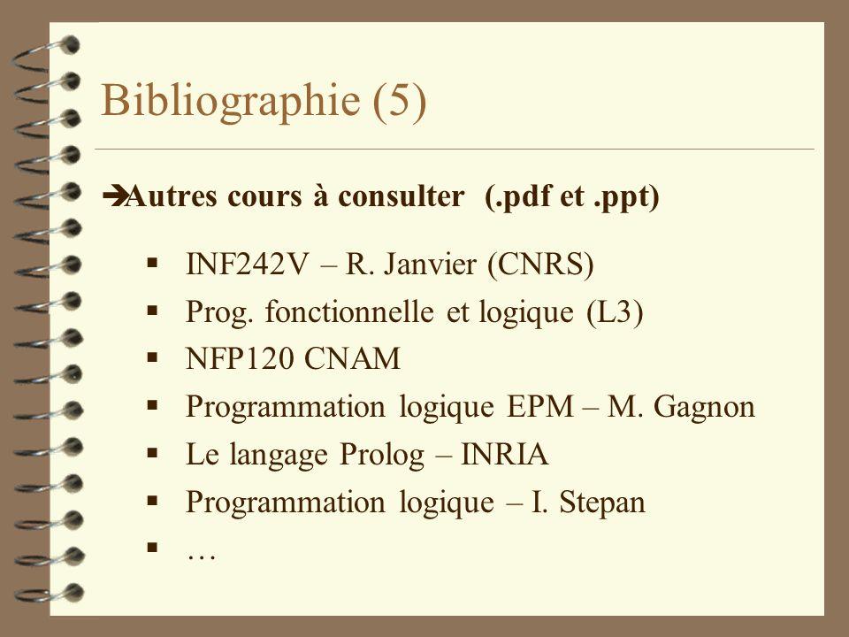 Bibliographie (5) Autres cours à consulter (.pdf et .ppt)