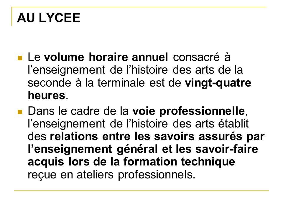 AU LYCEE Le volume horaire annuel consacré à l'enseignement de l'histoire des arts de la seconde à la terminale est de vingt-quatre heures.