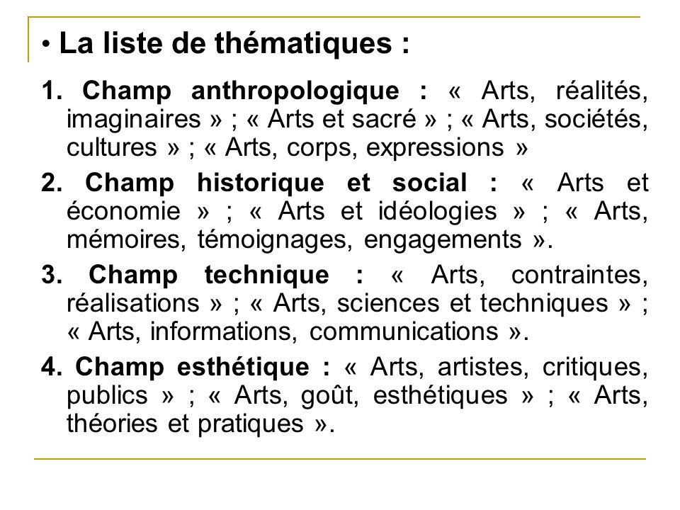 • La liste de thématiques :