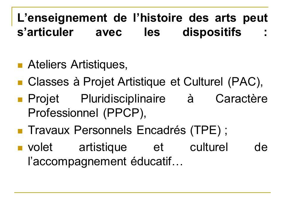 L'enseignement de l'histoire des arts peut s'articuler avec les dispositifs :