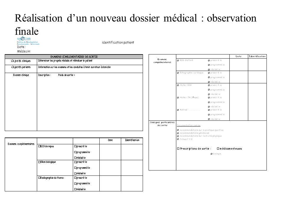 Réalisation d'un nouveau dossier médical : observation finale
