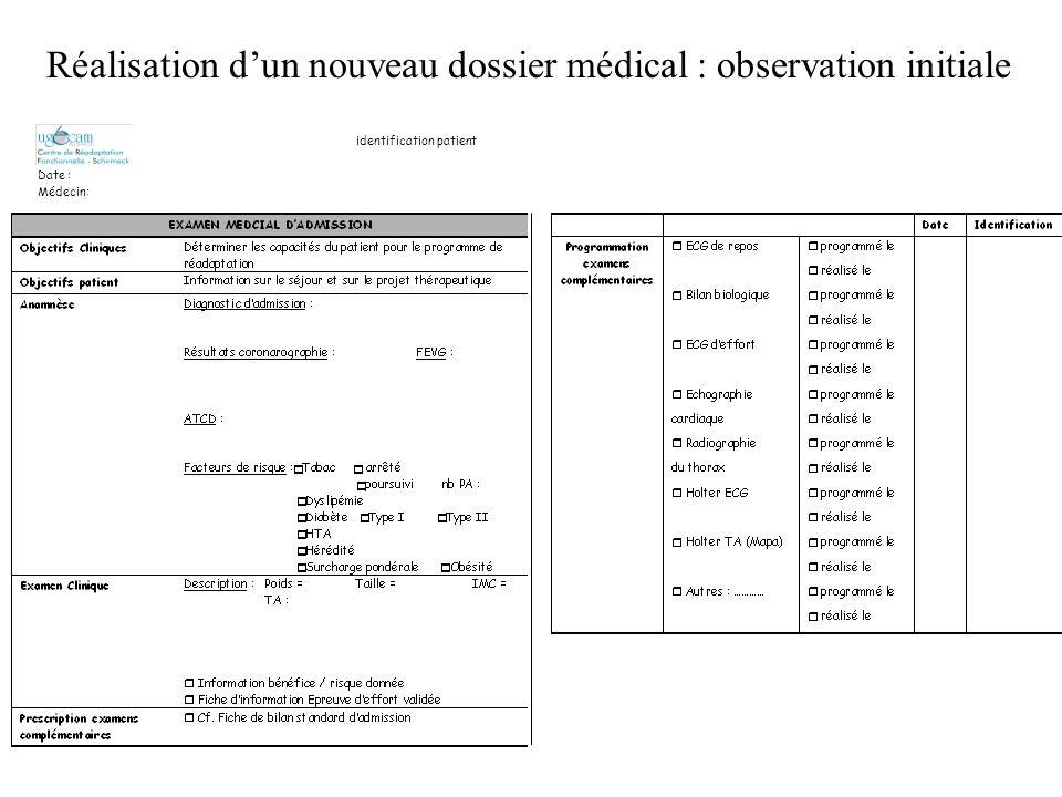 Réalisation d'un nouveau dossier médical : observation initiale