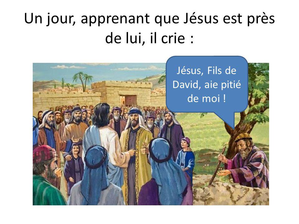 Un jour, apprenant que Jésus est près de lui, il crie :