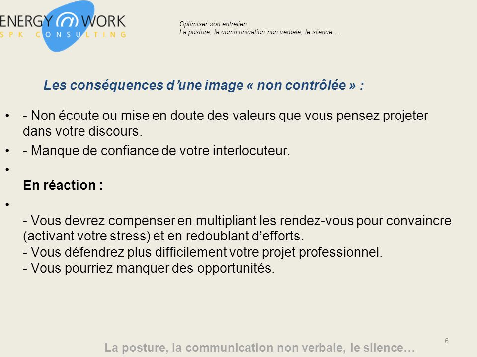 Les conséquences d'une image « non contrôlée » :