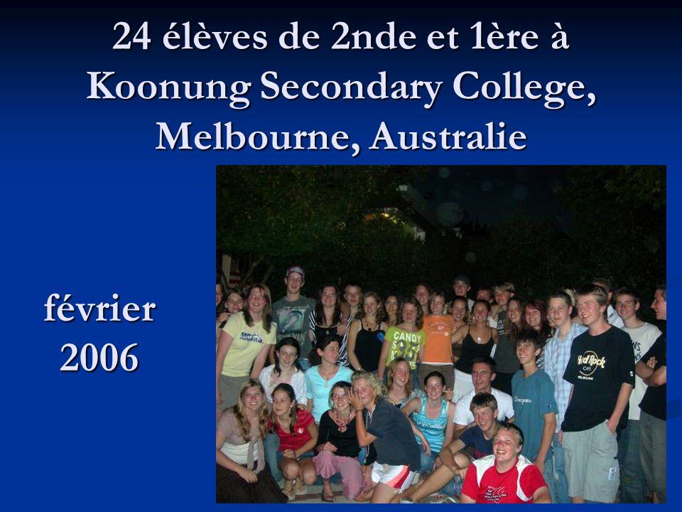 24 élèves de 2nde et 1ère à Koonung Secondary College, Melbourne, Australie